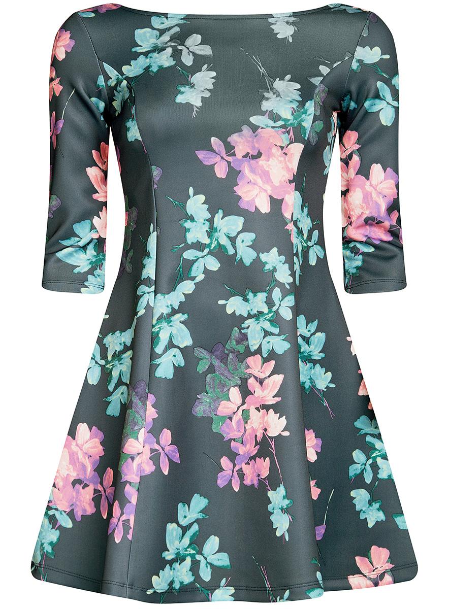 Платье oodji Ultra, цвет: темно-зеленый, бирюзовый. 14001150-3/33038/7683F. Размер M (46)14001150-3/33038/7683FСтильное платье oodji Ultra, выполненное из качественного полиэстера с небольшим добавлением эластана, отлично дополнит ваш гардероб. Модель-мини с круглым вырезом горловины и стандартными рукавами 3/4 оформлена оригинальным цветочным принтом.
