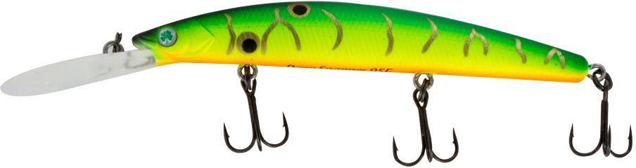 Воблер Yoshi Onyx Deep Snapper-95 F-DR, цвет: желтый, зеленый, 9,1 г75194Воблер Yoshi Onyx Deep Snapper-95 F-DR способен буквально за два-три рывкадостигнуть глубины 2,5 метра, что позволит эффективно обловить глубокие, но короткие прибрежные канавки. Отзывчив на анимацию и способен соблазнить практически любую хищную рыбу.Заглубление: 2-4 м.