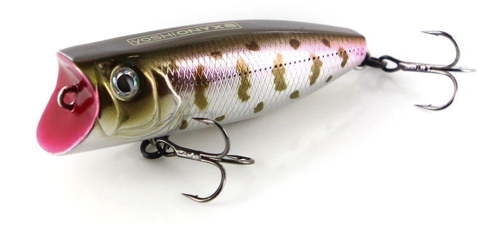 Воблер Yoshi Onyx Pop 60, цвет: стальной, коричневый, розовый, 6 см, 8,7 г96488Уловистый воблер Yoshi Onyx Pop 60 - это поверхностная приманка универсального размера. Толстенький поппер пришелся по вкусу окуню, жереху и щуке. Он способен спровоцировать даже пассивную рыбу. Благодаря мощной плевалке, хищник услышит приманку с больших расстояний, сам покинет укрытие и найдет приманку. Воблер оснащается двумя острыми и надежными тройными крючками Owner, на которые отлично ловится хищная рыба наших водоемов.