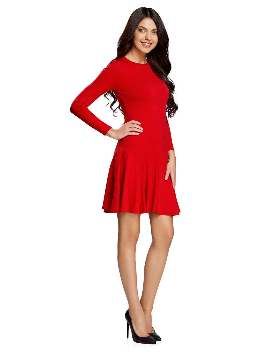 Платье oodji Ultra, цвет: красный. 14011015/46384/4500N. Размер L (48-170)14011015/46384/4500NПриталенное платье oodji Ultra с расклешенной юбкой выполнено из качественного трикотажа. Модель средней длины с круглым вырезом горловины и длинными рукавами застегивается на скрытую молнию на спинке.