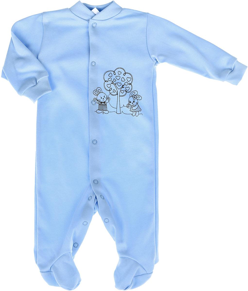 Комбинезон детский КотМарКот, цвет: голубой. 3688. Размер 80, 9-12 месяцев3688Детский комбинезон КотМарКот полностью соответствует особенностям жизни младенца в раннийпериод, не стесняя и не ограничивая его в движениях. Выполненный из мягкого натурального хлопка, он очень приятный наощупь, не раздражает нежную и чувствительную кожу ребенка, позволяя ей дышать. Комбинезон с круглым вырезом горловины, длинными рукавами и закрытыми ножками имеет застежки-кнопкиспереди и на ластовице, которые помогают легко переодеть младенца или сменить подгузник. Низ рукавовдополнен мягкими широкими манжетами, бережно обхватывающими запястья малыша. Спереди модель украшенапринтом с изображением очаровательных зайчат под деревом. Такой комбинезон полностью соответствуют особенностям жизни малыша в ранний период, не стесняя и не ограничивая его в движениях, и прекрасно подойдет для активных игр и сна.