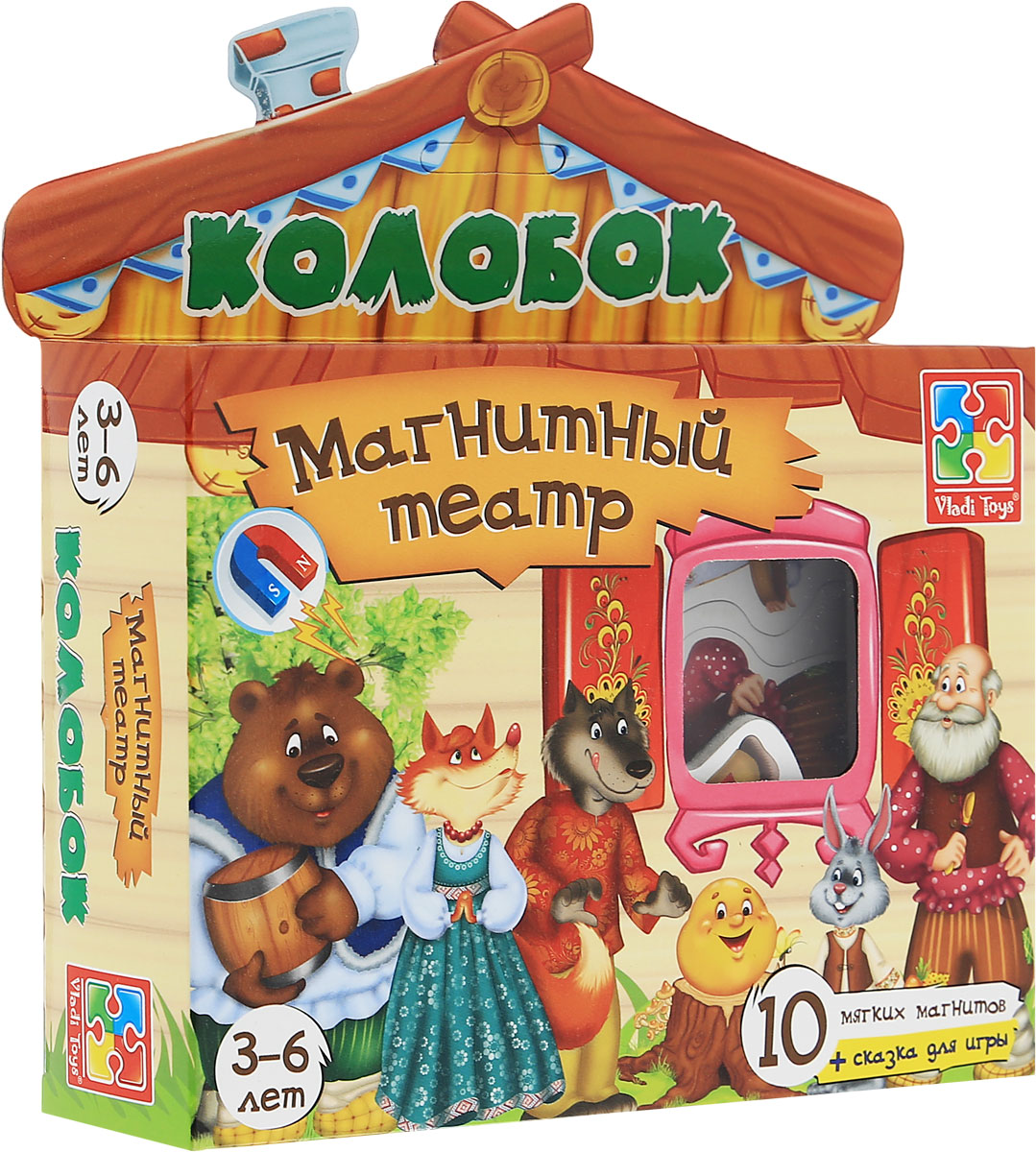 Vladi Toys Магнитный кукольный театр Колобок vladi toys магнитный кукольный театр репка