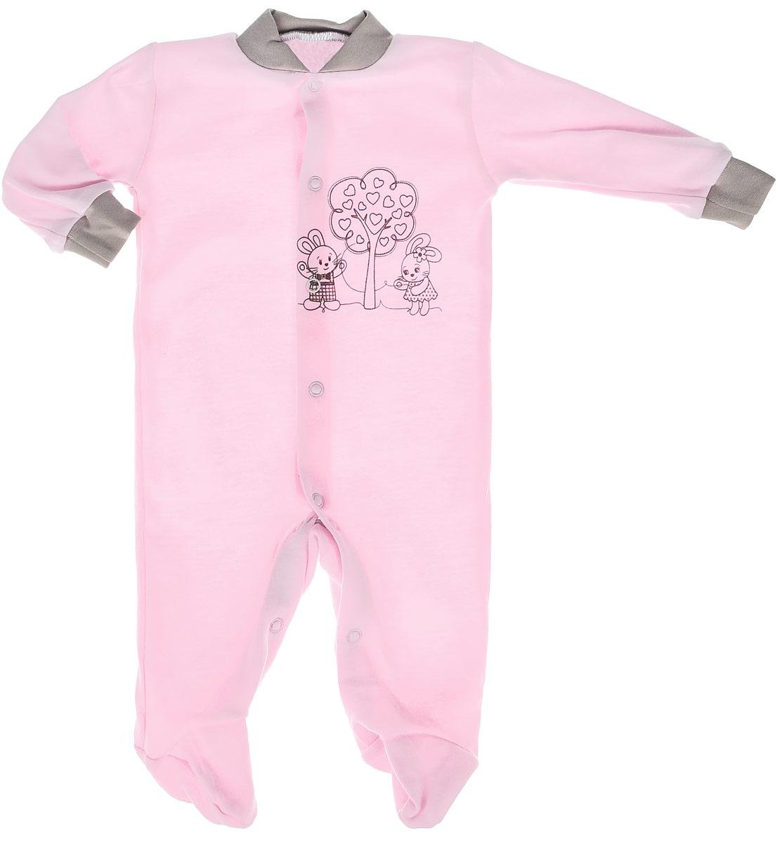 Комбинезон детский КотМарКот, цвет: розовый. 3689. Размер 86, 1 год3689Детский комбинезон КотМарКот полностью соответствует особенностям жизни младенца в раннийпериод, не стесняя и не ограничивая его в движениях. Выполненный из мягкого натурального хлопка, он очень приятный наощупь, не раздражает нежную и чувствительную кожу ребенка, позволяя ей дышать. Комбинезон с круглым вырезом горловины, длинными рукавами и закрытыми ножками имеет застежки-кнопкиспереди и на ластовице, которые помогают легко переодеть младенца или сменить подгузник. Низ рукавовдополнен мягкими широкими манжетами, бережно обхватывающими запястья малыша. Спереди модель украшенапринтом с изображением очаровательных зайчат под деревом. Такой комбинезон полностью соответствуют особенностям жизни малыша в ранний период, не стесняя и не ограничивая его в движениях, и прекрасно подойдет для активных игр и сна.