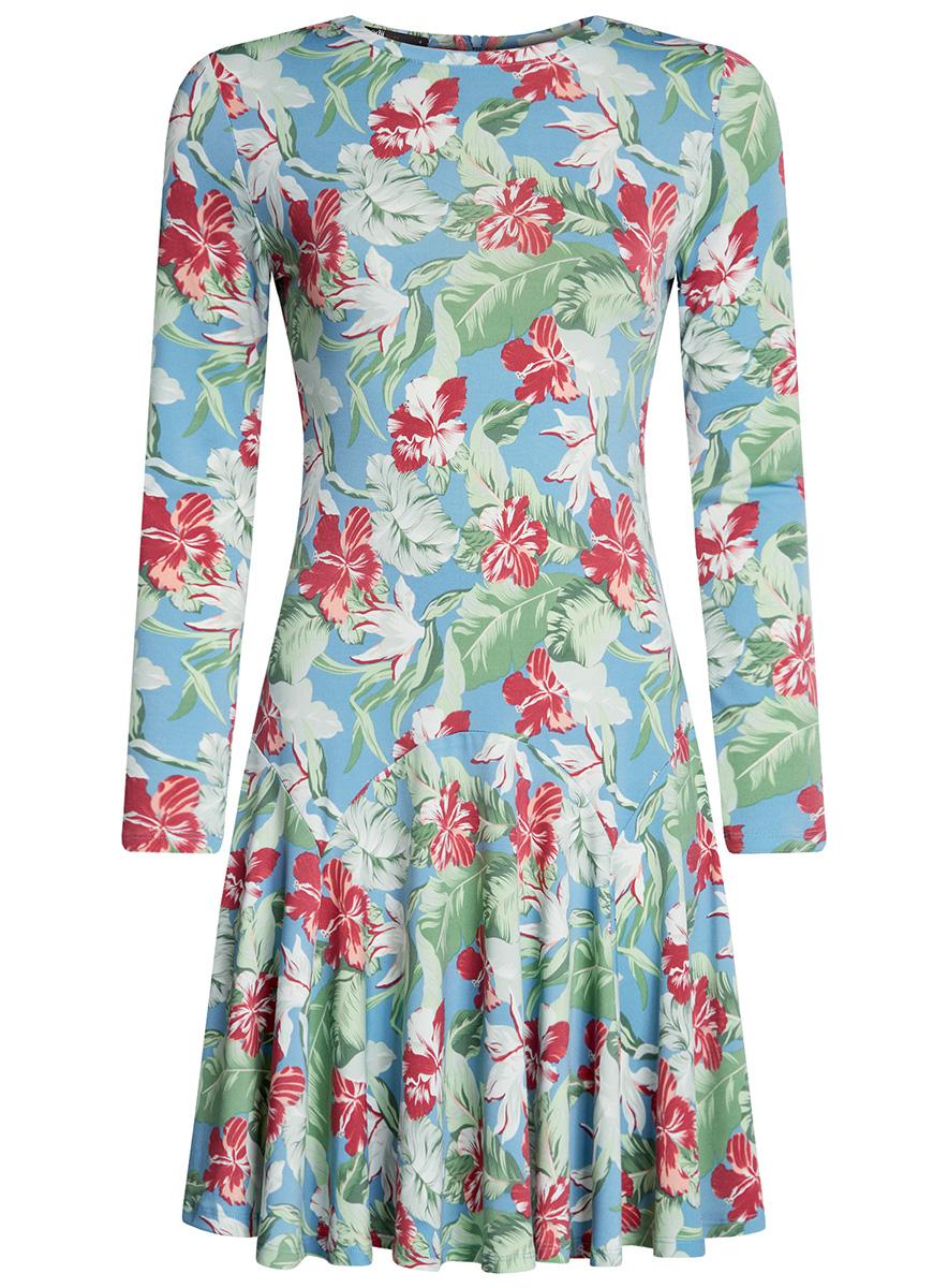 Платье oodji Ultra, цвет: бирюзовый, зеленый. 14011015/46384/7362F. Размер S (44-170)14011015/46384/7362FПриталенное платье oodji Ultra с расклешенной юбкой выполнено из качественного трикотажа. Модель средней длины с круглым вырезом горловины и длинными рукавами застегивается на скрытую молнию на спинке.