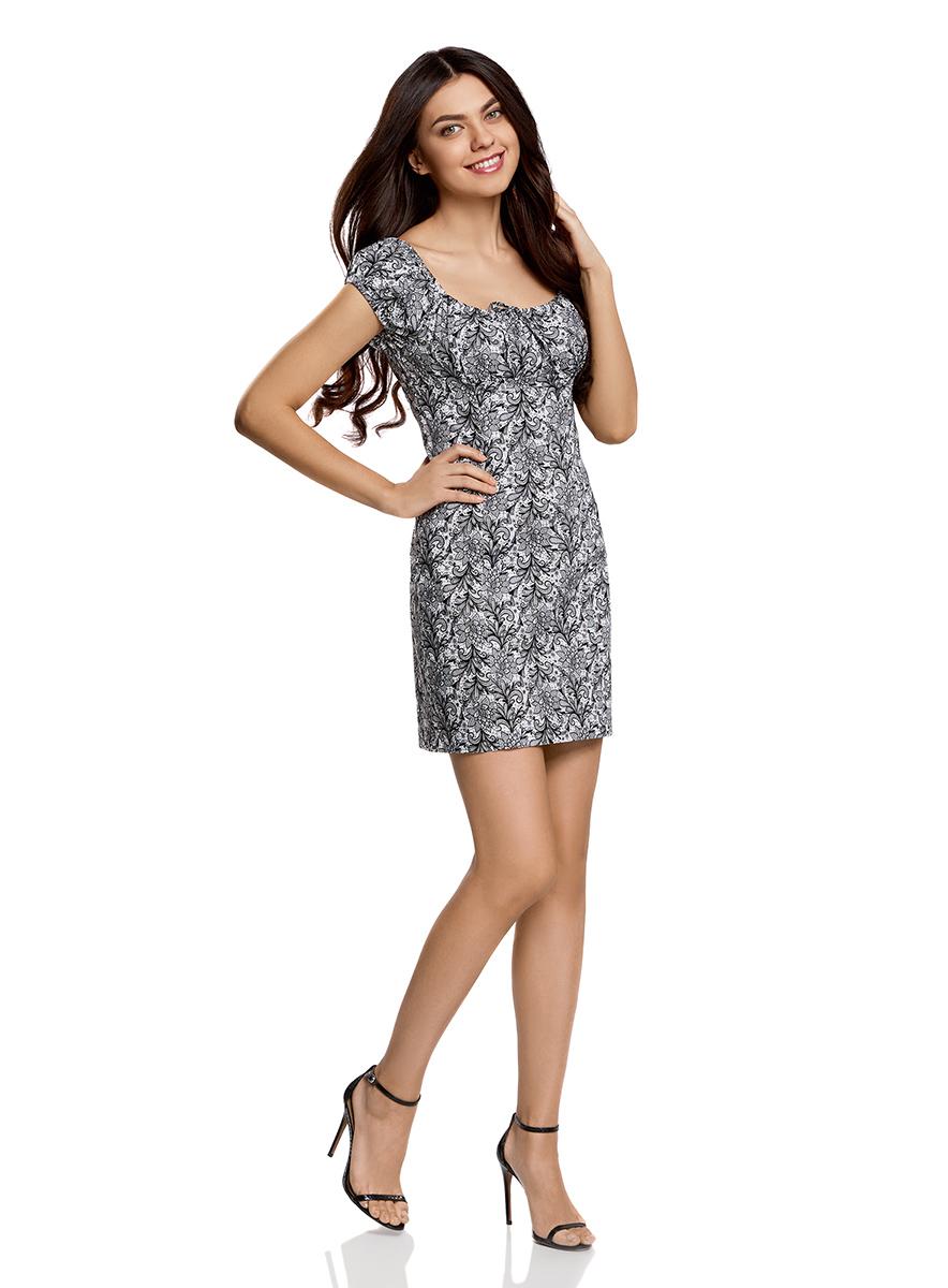Платье oodji Ultra, цвет: белый, черный. 11902047-2B/14885/1029L. Размер 36-170 (42-170)11902047-2B/14885/1029LЖенственное платье oodji Ultra выполнено из хлопка с добавлением эластана. Приталенная модель с круглым вырезом горловины и короткими рукавами-реглан застегивается сбоку на скрытую молнию. Вырез горловины и края рукавов дополнены кулиской с резинкой.