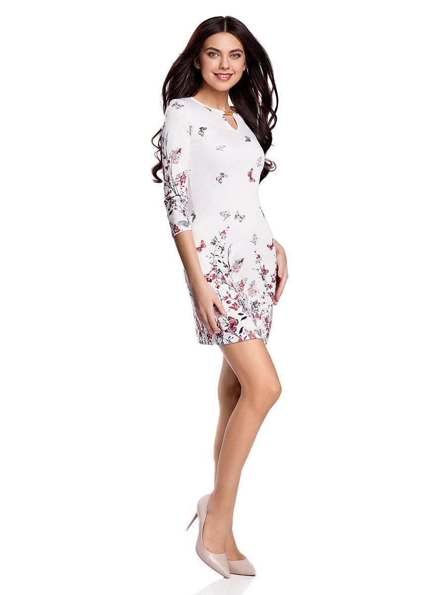 Платье oodji Ultra, цвет: белый, красный. 14001173/45344/1245F. Размер M (46-170)14001173/45344/1245FПриталенное платье oodji Ultra, выгодно подчеркивающее достоинства фигуры, выполнено из качественного трикотажа в мелкий рубчик. Модель мини-длины с рукавами оформлено ярким цветочным принтом с бабочками. Круглый вырез горловины дополнен вырезом-капелькой с металлическим украшением.