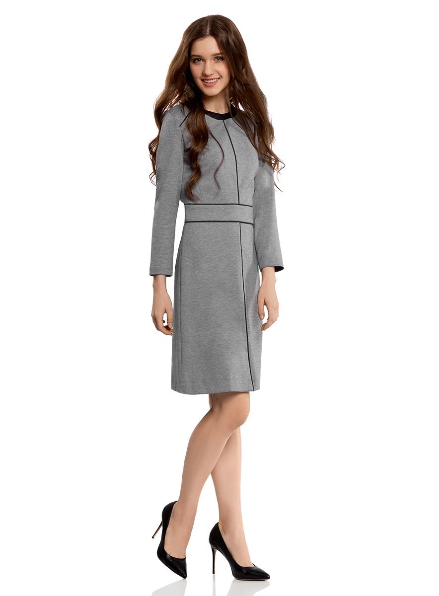 Платье oodji Collection, цвет: темно-серый меланж. 24011012/35477/2500M. Размер L (48-170)24011012/35477/2500MПриталенное платье oodji Collection выполнено из мягкого трикотажа с контрастной отделкой. Модель средней длины с круглым вырезом горловины и рукавами7/8 застегивается на спинке на скрытую застежку-молнию.