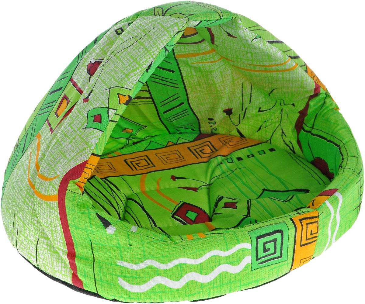 Лежак для животных Elite Valley  Лукошко , цвет: салатовый, бордовый, 45 х 35 х 34 см. Л-13/2 - Лежаки, домики, спальные места
