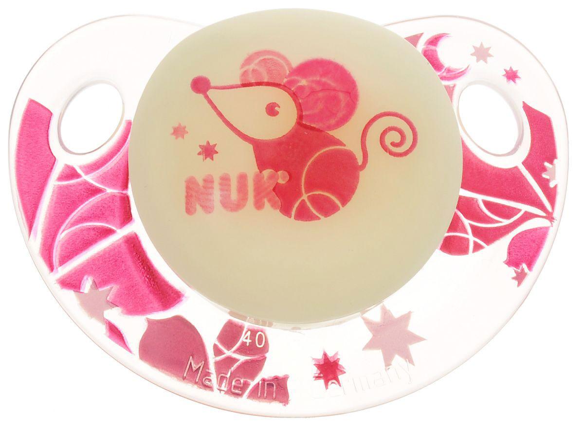 Пустышка латексная для сна NUK Night & Day, ортодонтическая, от 0 до 6 месяцев, цвет желтый, розовый, мышка соска пустышка nuk night & day от 18 до 36 месяцев цвет салатовый синий