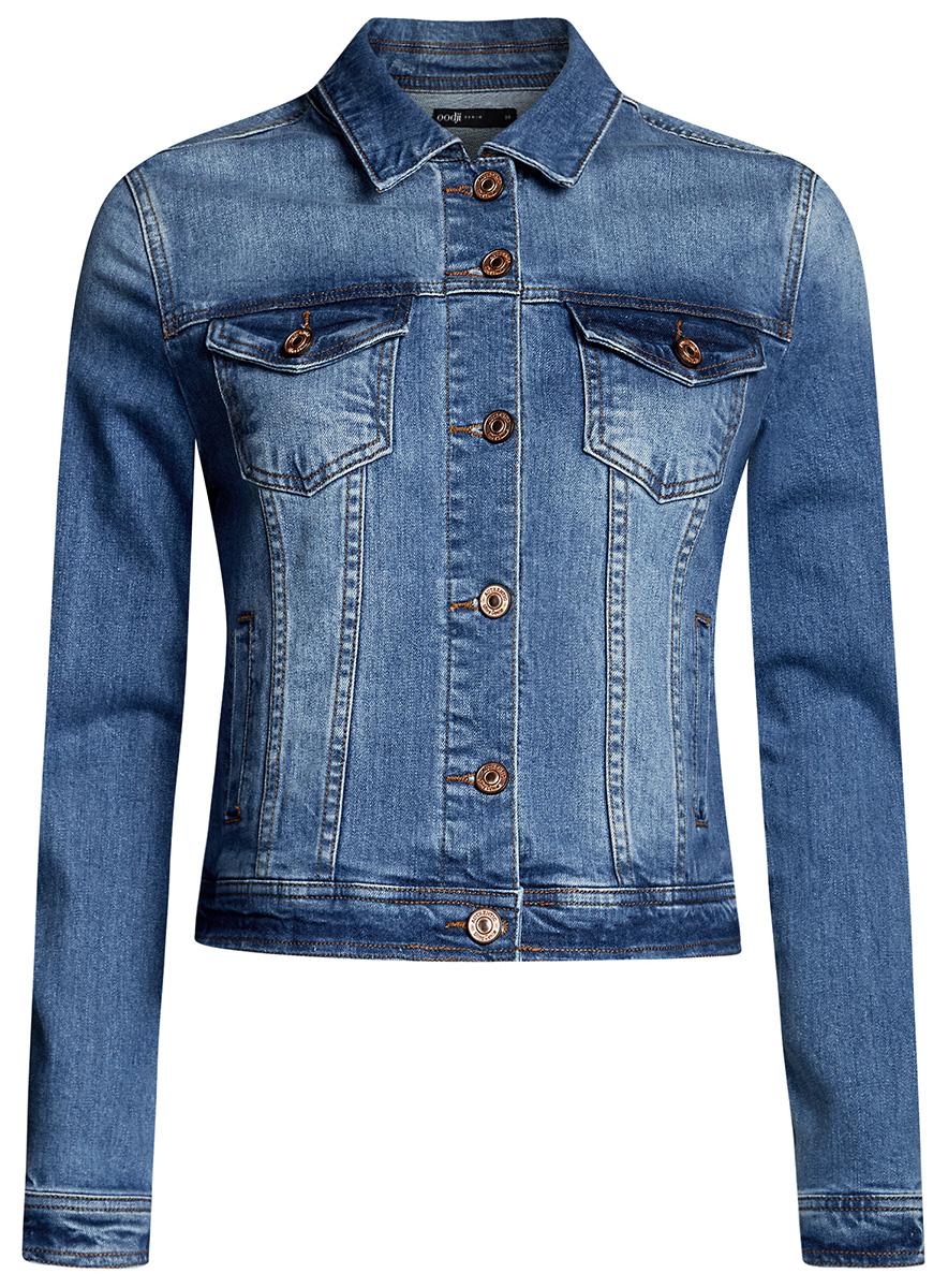 Куртка джинсовая женская oodji Ultra, цвет: синий джинс. 11109034-1B/46341/7500W. Размер 42-170 (48-170)11109034-1B/46341/7500WЖенская джинсовая куртка oodji Ultra выполнена из высококачественного материала. Модель с отложнымворотником застегивается на пуговица. Спереди расположено два втачных кармана и два накладных с клапанами на пуговицах.
