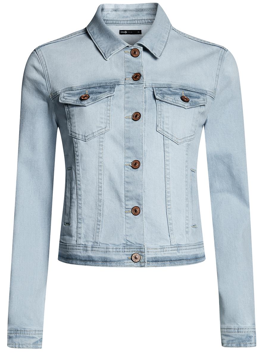 Куртка джинсовая женская oodji Ultra, цвет: голубой джинс. 11109034-1B/46341/7000W. Размер 42-170 (48-170)11109034-1B/46341/7000WЖенская джинсовая куртка oodji Ultra выполнена из высококачественного материала. Модель с отложнымворотником застегивается на пуговица. Спереди расположено два втачных кармана и два накладных с клапанами на пуговицах.
