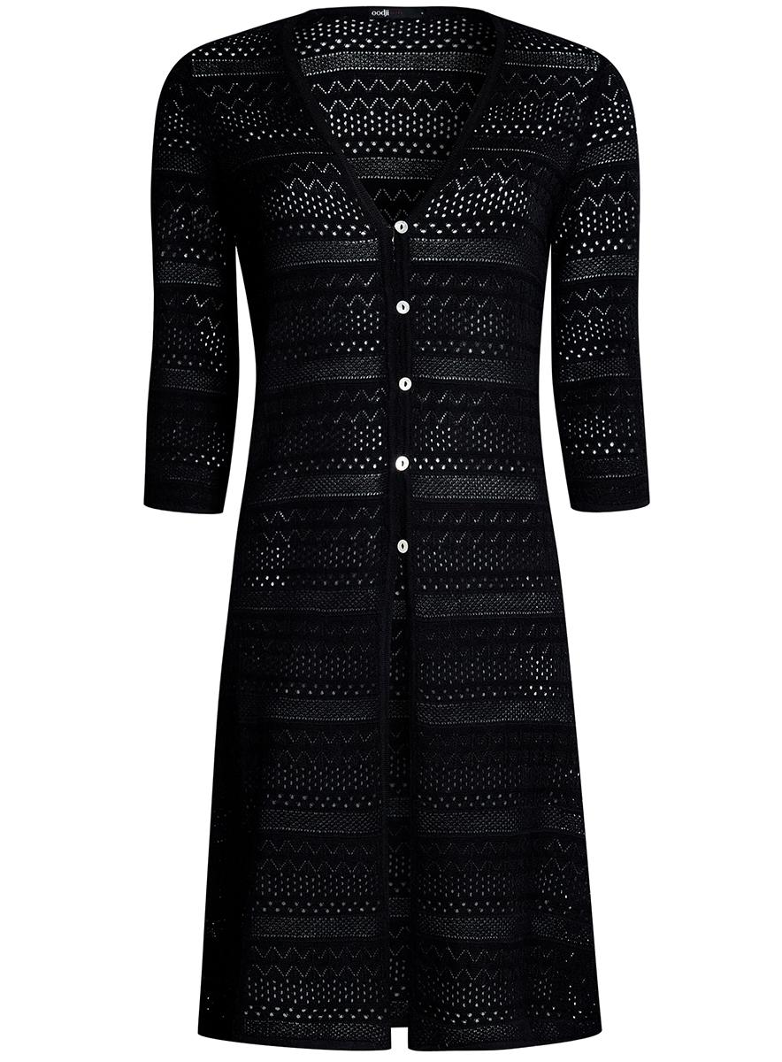 Кардиган женский oodji Ultra, цвет: черный. 63212573/35472/2900N. Размер L (48) платье oodji ultra цвет черный 14015017 1b 48470 2900n размер l 48