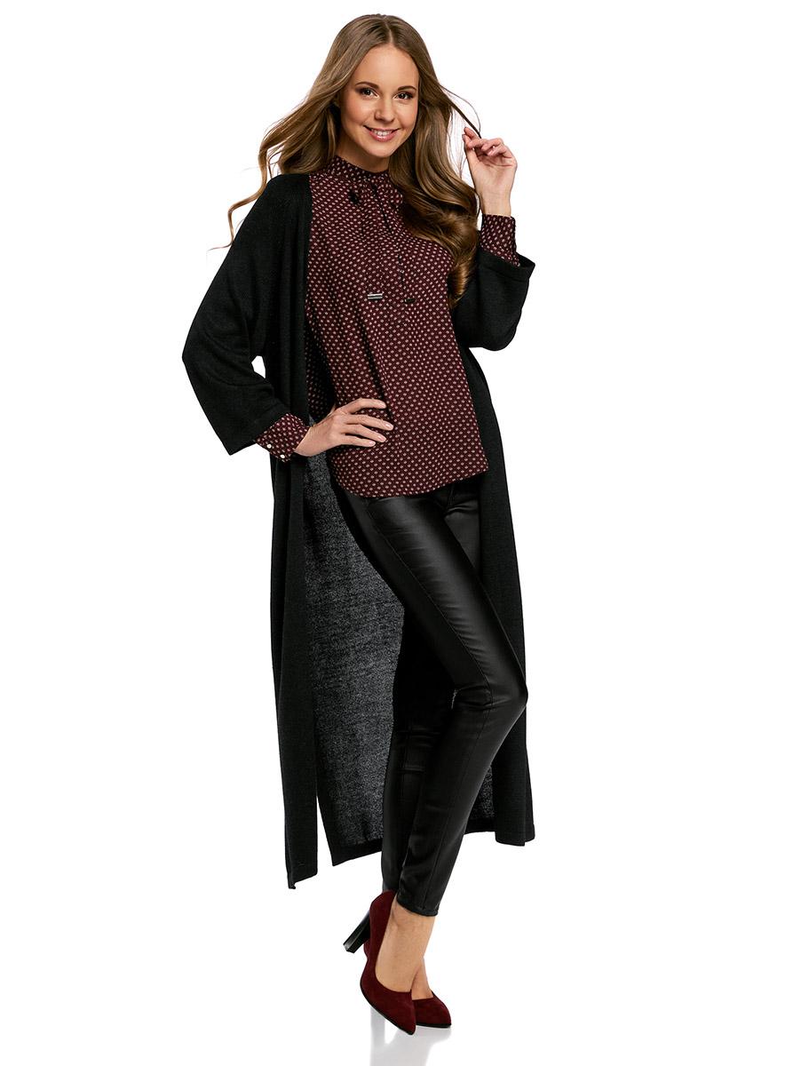 Кардиган женский oodji Ultra, цвет: черный. 63207188/46404/2900N. Размер M (46)63207188/46404/2900NТрикотажный удлиненный кардиган oodji изготовлен из качественного смесового материала. Модель выполнена без застежки.