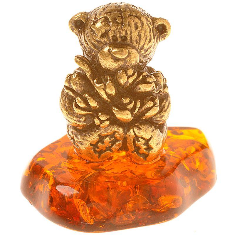 Фигурка декоративная Гифтман Мишка Тедди с цветами. Ручная работа. 5211752117Фигура на янтаре