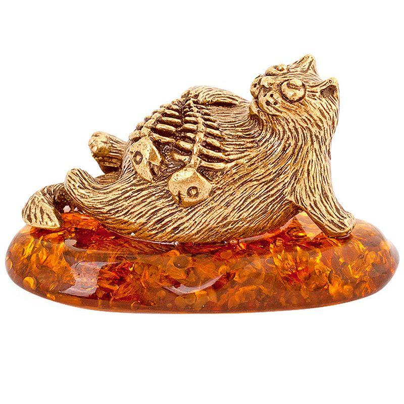 Фигурка декоративная Гифтман Кот - рыбы. Ручная работа.5220552205Фигура на янтаре