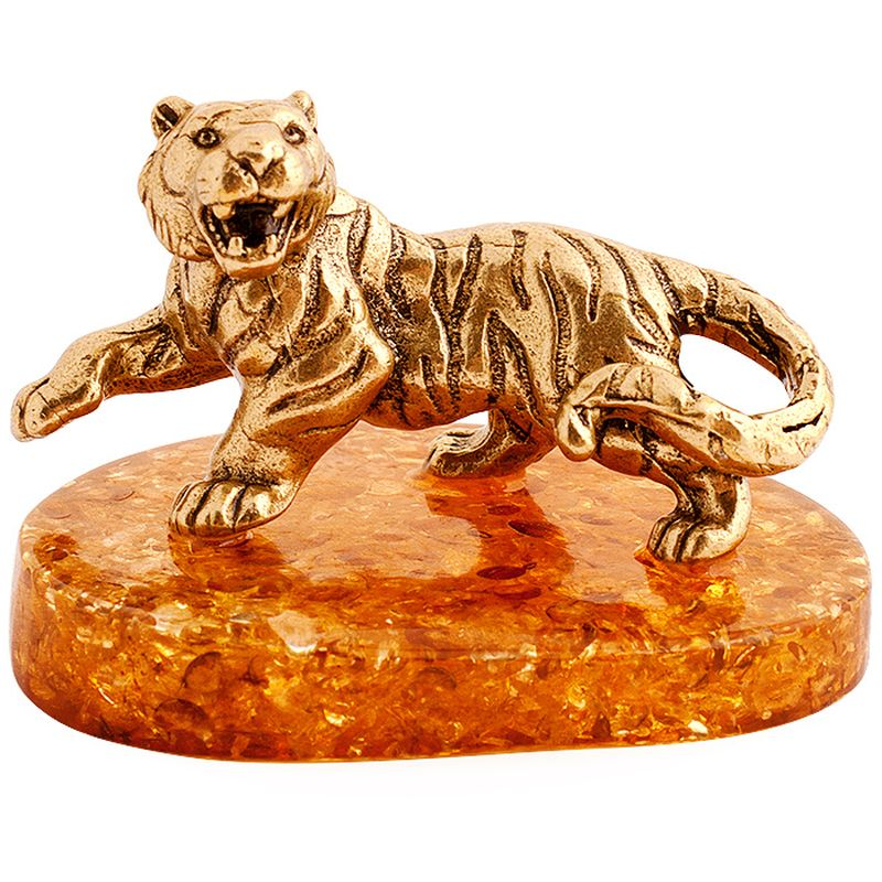 Фигурка декоративная Гифтман Тигр. Ручная работа.5221452214Фигура на янтаре