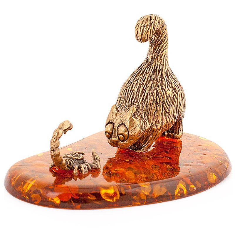 Фигурка декоративная Гифтман Кот - скорпион. Ручная работа.5223152231Фигура на янтаре