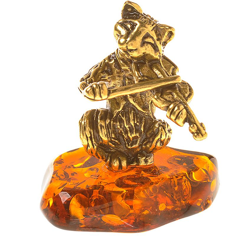 Фигурка декоративная Гифтман Кот-скрипач. Ручная работа. 5335353353Фигура на янтаре