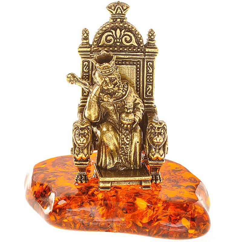 Фигурка декоративная Гифтман Царь на троне. Ручная работа. 5343353433Фигура на янтаре