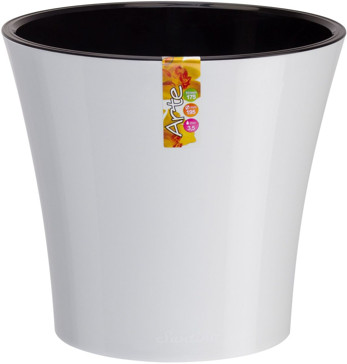Горшок цветочный Santino Арте, двойной, с системой автополива, цвет: белый, черный, 1,2 лАРТ 1,2 Б-ЧГоршок цветочный Santino Арте снабжен дренажной системой и состоит из кашпо и вазона-вкладыша. Изготовлен из пластика. Особенность: тарелочка или блюдце не нужны. Горшок предназначен для любых растений или цветов. Цветочный дренаж – это система, которая позволяет выводить лишнюю влагу через корневую систему цветка и слой почвы. Растение – это живой организм, следовательно, ему необходимо дышать. В доступе к кислороду нуждаются все части растения: -листья; -корневая система. Если цветовод по какой-либо причине зальет цветок водой, то она буквально вытеснит из почвенного слоя все пузырьки кислорода. Анаэробная среда способствует развитию различного рода бактерий. Безвоздушная среда приводит к загниванию корневой системы, цветок в результате увядает. Суть работы дренажной системы заключается в том, чтобы осуществлять отвод лишней влаги от растения и давать возможность корневой системе дышать без проблем. Следовательно, каждому цветку необходимо: -иметь в основании цветочного горшочка хотя бы одно небольшое дренажное отверстие. Оно необходимо для того, чтобы через него выходила лишняя вода, плюс ко всему это отверстие дает возможность циркулировать воздух. -на самом дне горшка необходимо выложить слоем в 2-5 см (зависит от вида растения) дренаж.УВАЖАЕМЫЕ КЛИЕНТЫ!Обращаем ваше внимание на тот факт, что фото изделия служит для визуального восприятия товара. Литраж и размеры, представленные на этикетке товара, могут по факту отличаться от реальных. Корректные данные в поле Размеры.