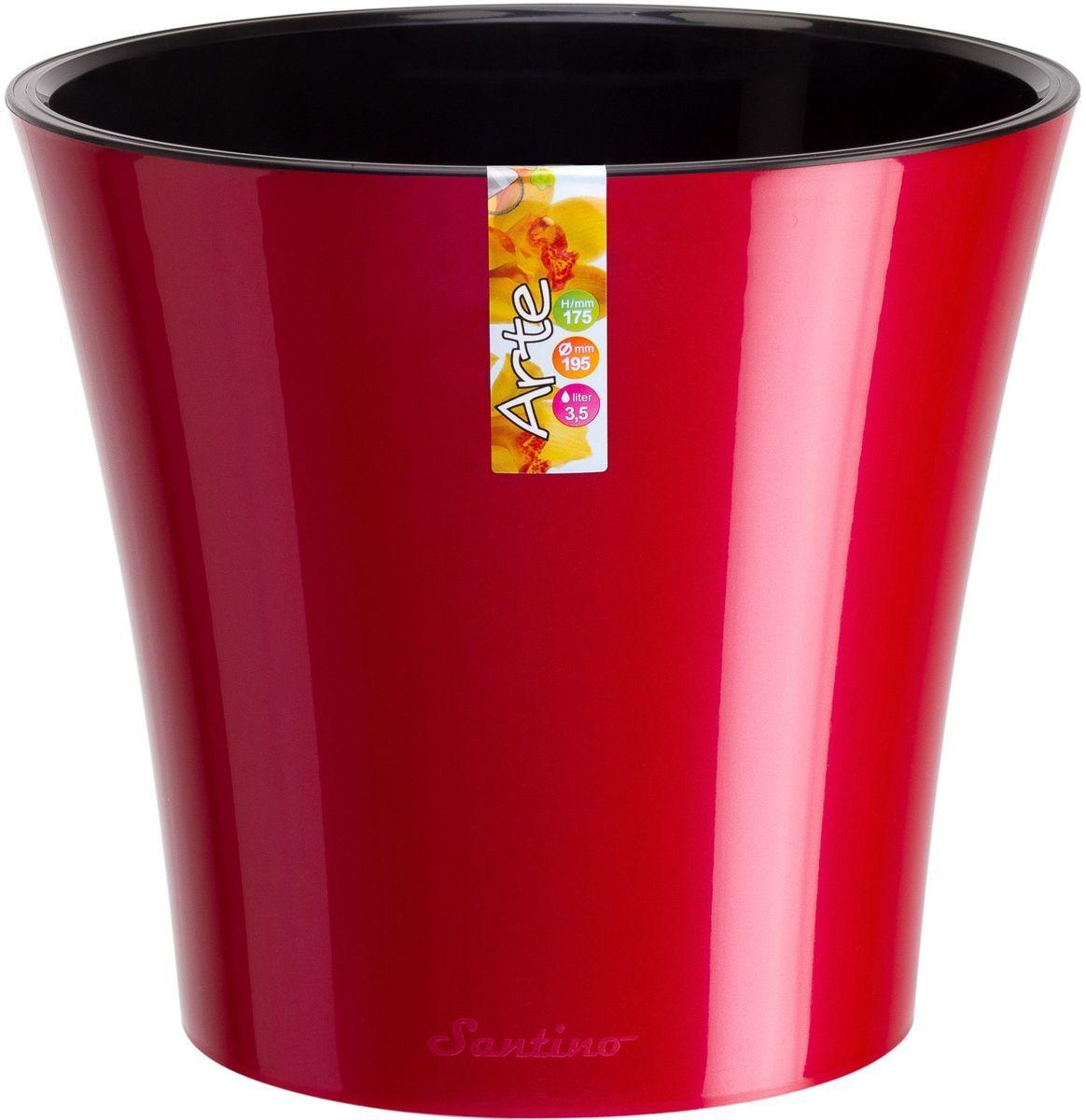 Горшок цветочный Santino Арте, двойной, с системой автополива, цвет: красный, черный, 3,5 лМ 3099Любой, даже самый современный и продуманный интерьер будет незавершенным без растений. Они не только очищают воздух и насыщают его кислородом, но и украшают окружающее пространство. Такому полезному члену семьи просто необходим красивый и функциональный дом! Оптимальный выбор материала — пластмасса! Почему мы так считаем? Малый вес. С легкостью переносите горшки и кашпо с места на место, ставьте их на столики или полки, не беспокоясь о нагрузке. Простота ухода. Кашпо не нуждается в специальных условиях хранения. Его легко чистить — достаточно просто сполоснуть теплой водой. Никаких потертостей. Такие кашпо не царапают и не загрязняют поверхности, на которых стоят. Пластик дольше хранит влагу, а значит, растение реже нуждается в поливе. Пластмасса не пропускает воздух — корневой системе растения не грозят резкие перепады температур. Огромный выбор форм, декора и расцветок — вы без труда найдете что-то, что идеально впишется в уже существующий интерьер. Соблюдая нехитрые правила ухода, вы можете заметно продлить срок службы горшков и кашпо из пластика: всегда учитывайте размер кроны и корневой системы (при разрастании большое растение способно повредить маленький горшок) берегите изделие от воздействия прямых солнечных лучей, чтобы горшки не выцветали держите кашпо из пластика подальше от нагревающихся поверхностей. Создавайте прекрасные цветочные композиции, выращивайте рассаду или необычные растения.
