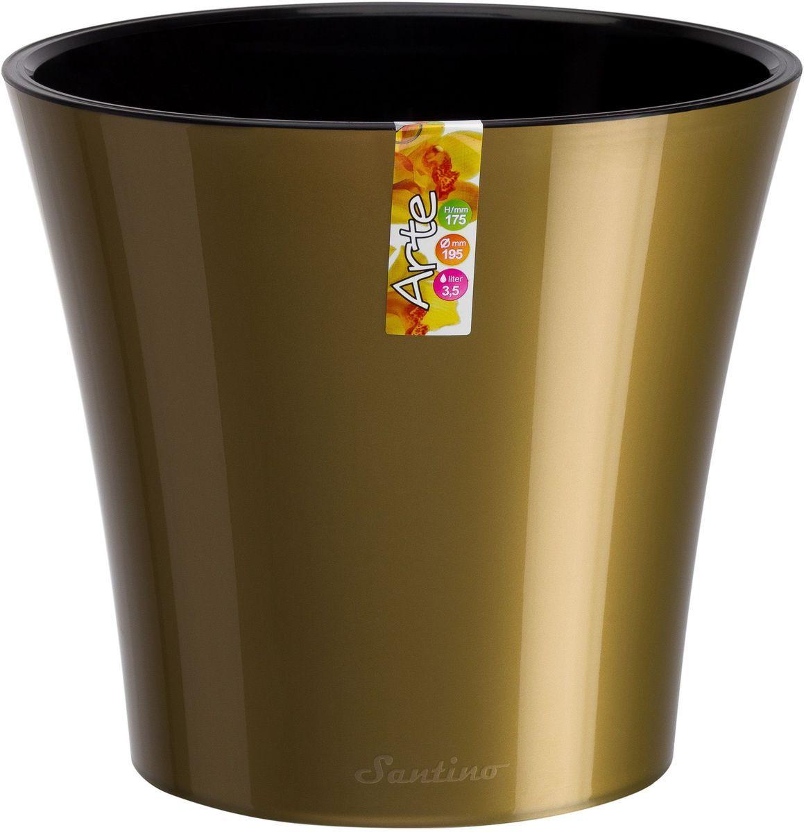Горшок цветочный Santino Арте, двойной, с системой автополива, цвет: золотой, черный, 5 лМ 3102Любой, даже самый современный и продуманный интерьер будет незавершенным без растений. Они не только очищают воздух и насыщают его кислородом, но и украшают окружающее пространство. Такому полезному члену семьи просто необходим красивый и функциональный дом! Оптимальный выбор материала — пластмасса! Почему мы так считаем? Малый вес. С легкостью переносите горшки и кашпо с места на место, ставьте их на столики или полки, не беспокоясь о нагрузке. Простота ухода. Кашпо не нуждается в специальных условиях хранения. Его легко чистить — достаточно просто сполоснуть теплой водой. Никаких потертостей. Такие кашпо не царапают и не загрязняют поверхности, на которых стоят. Пластик дольше хранит влагу, а значит, растение реже нуждается в поливе. Пластмасса не пропускает воздух — корневой системе растения не грозят резкие перепады температур. Огромный выбор форм, декора и расцветок — вы без труда найдете что-то, что идеально впишется в уже существующий интерьер. Соблюдая нехитрые правила ухода, вы можете заметно продлить срок службы горшков и кашпо из пластика: всегда учитывайте размер кроны и корневой системы (при разрастании большое растение способно повредить маленький горшок) берегите изделие от воздействия прямых солнечных лучей, чтобы горшки не выцветали держите кашпо из пластика подальше от нагревающихся поверхностей. Создавайте прекрасные цветочные композиции, выращивайте рассаду или необычные растения.