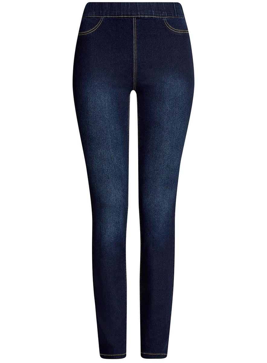 Джинсы женские oodji Ultra, цвет: темно-синий джинс. 12104043-6B/46260/7900W. Размер 28-30 (46-30)12104043-6B/46260/7900WЖенские джинсы oodji Ultra выполнены из высококачественного материала. Облегающая модель средней посадки с эластичным поясом. Джинсы имеют сзади два накладных кармана.