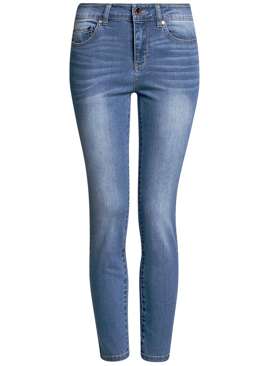 Джинсы женские oodji Ultra, цвет: синий джинс. 12103149B/45379/7500W. Размер 25-30 (40-30)12103149B/45379/7500WЖенские джинсы oodji Ultra выполнены из высококачественного материала. Модель-скинни завышенной посадки по поясу застегивается на пуговицу и имеют ширинку на застежке-молнии, а также шлевки для ремня. Джинсы имеют спереди - два втачных кармана, а сзади - два накладных кармана.