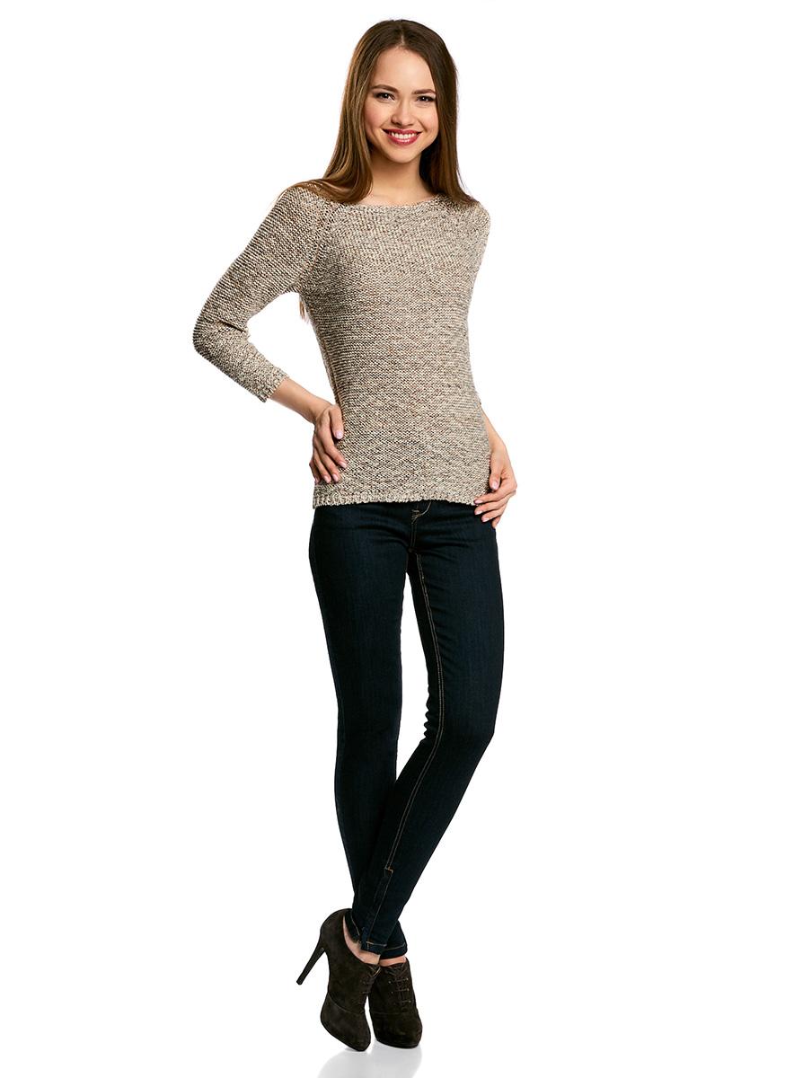 Джемпер женский oodji Ultra, цвет: коричневый, кремовый. 63805300/42749/3730O. Размер XL (50)63805300/42749/3730OУютный женский джемпер с вырезом горловины лодочка и рукавами-реглан длиной 3/4 выполнен из ленточной пряжи.