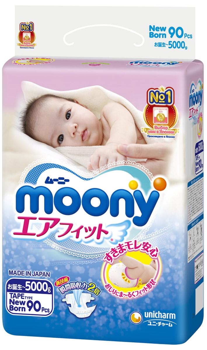 Moony Японские подгузники, NB, 0-5 кг, 90 шт чехлы для фотоаппаратов t nb accessories сумка для зеркальных фотоаппаратов t nb dccos1xl размер xl