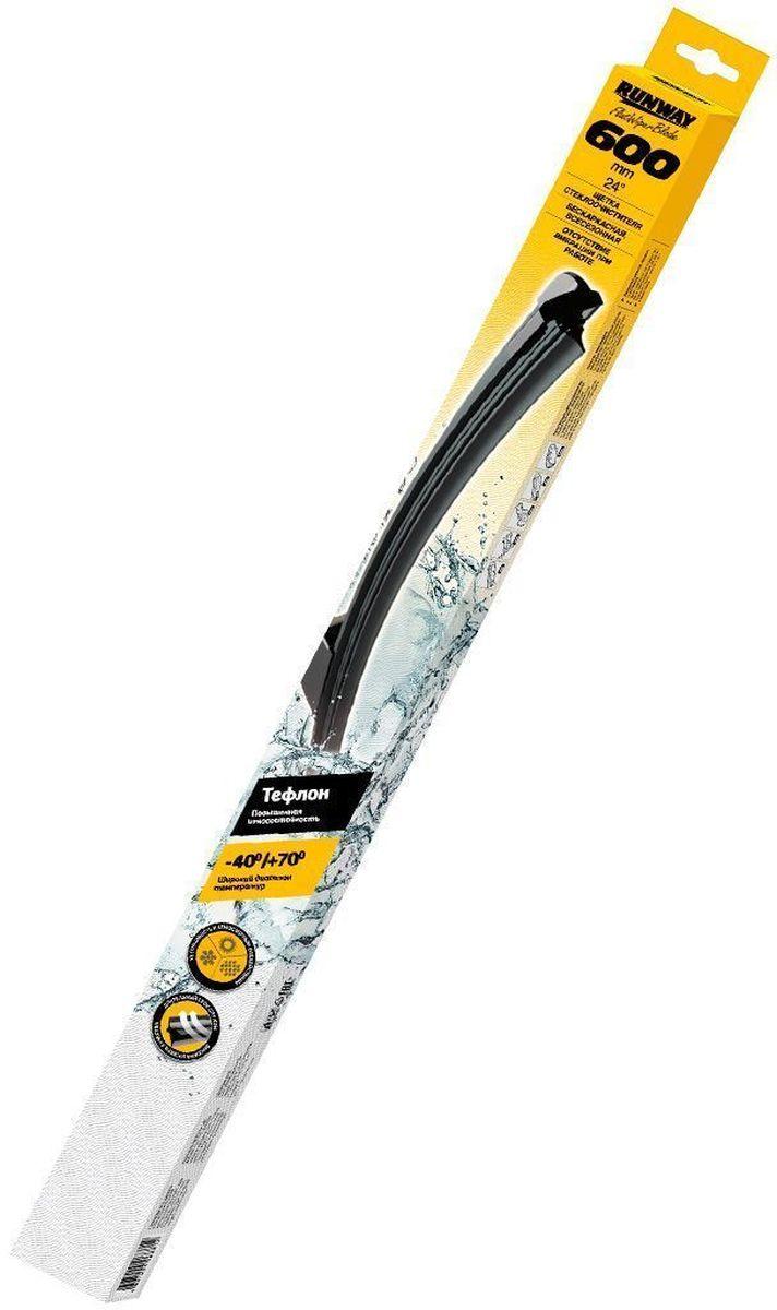Щетка стеклоочистителя Runway, бескаркасная, с тефлоновым покрытием, 24 (600 мм), 5 адаптеровRW-24TБескаркасная щетка стеклоочистителя Runway с тефлоновым покрытием изготовлена по современным стандартам. Направляющая шина, расположенная внутри чистящего полотна, равномерно распределяет прижимное усилие по всей длине, точно повторяя рельеф щетки, что обеспечивает наиболее полное очищение стекла за один подход. Преимущества: Повышенная износостойкость. Всесезонность. Бесшумность работы. Без вибрации. Аэродинамический дизайн. Длительный срок службы. Высокий уровень качества. В комплекте 5 адаптеров (М92, Х01, Х02, Х03, Х06).