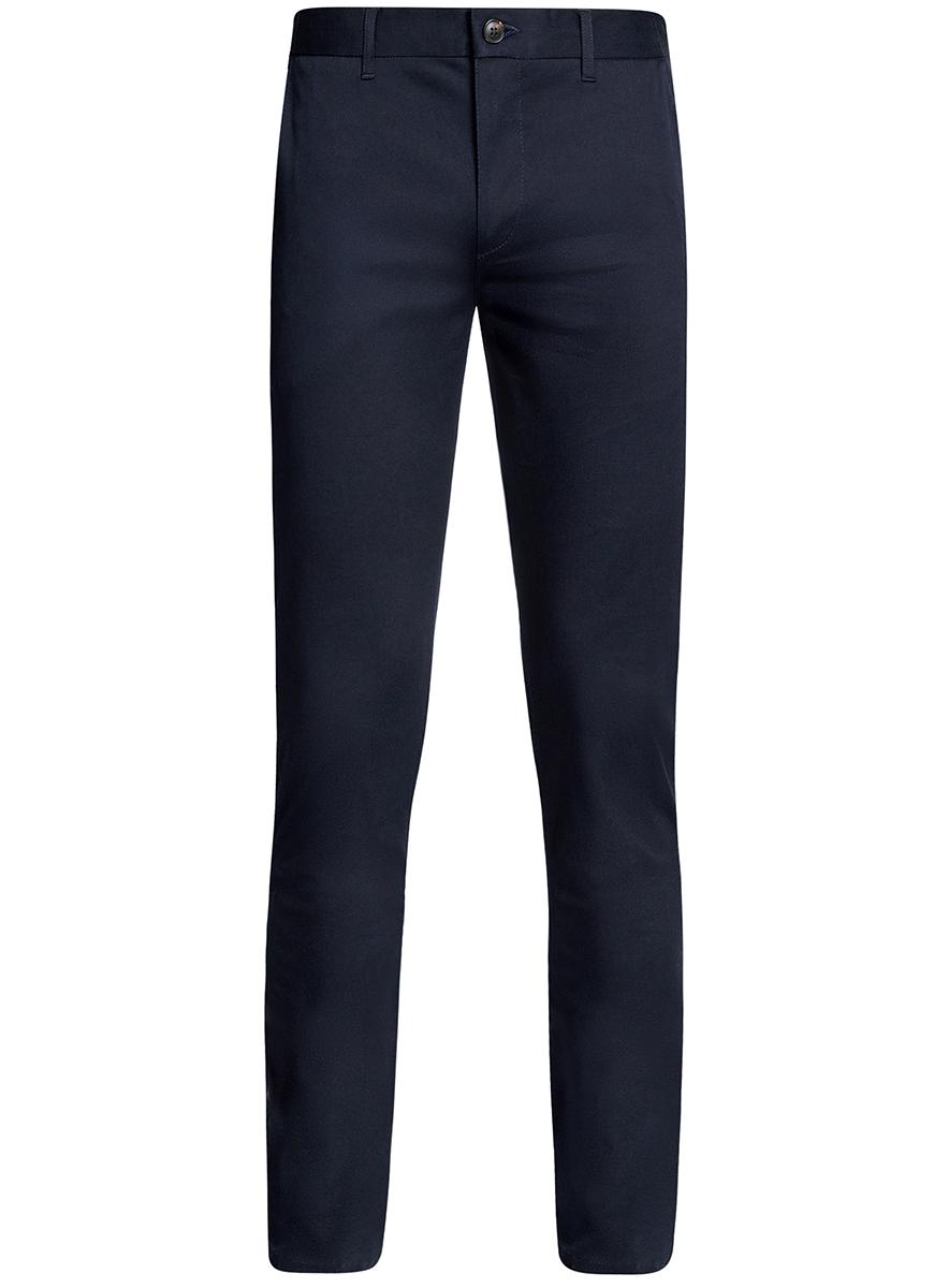 Брюки мужские oodji Basic, цвет: темно-синий. 2B200015M/21822N/7900N. Размер 44-182 (52-182)2B200015M/21822N/7900NМужские брюки oodji Basic выполнены из высококачественного материала. Модель-чинос стандартной посадки застегивается на пуговицу в поясе и ширинку на застежке-молнии. Пояс имеет шлевки для ремня. Спереди брюки дополнены втачными карманами, сзади - прорезными.