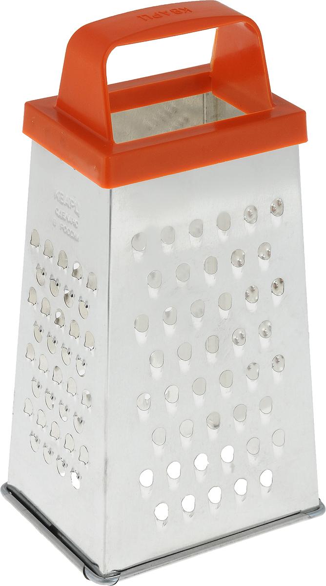 Терка Кварц, четырехгранная, высота 21,5 см. К01.000.07К01.000.07Четырехгранная терка Кварц, выполненная из высококачественной жести, станет незаменимым атрибутом приготовления пищи. На одном изделии представлены четыре вида терок - крупная, средняя, мелкая и для сыра. Терка оснащена удобной пластиковой ручкой.Терка Кварц станет достойным дополнением к вашему кухонному инвентарю.Высота терки: 21,5 см.Размер основания: 11 х 8,5 см.
