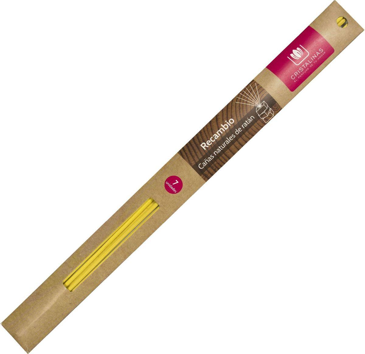 Палочки ротанговые Cristalinas Natural Wood, цвет: желтый, 7 шт316330Палочки ротанговые Cristalinas Natural Wood- главный атрибут любого арома-диффузора. Благодаря их особой пористой структуре ароматическое масло хорошо впитывается, затем поднимается из флакона вверх, наполняя помещение приятным ароматом. Можно использовать разное количество палочек, регулируя интенсивность аромата. Ротанговые палочки Cristalinas созданы из натурального дерева. Способ применения: поместить необходимое количество ротанговых палочек во флакон. Рекомендуется периодически переворачивать палочки для повышения интенсивности аромата. Состав: материал – ротанг.