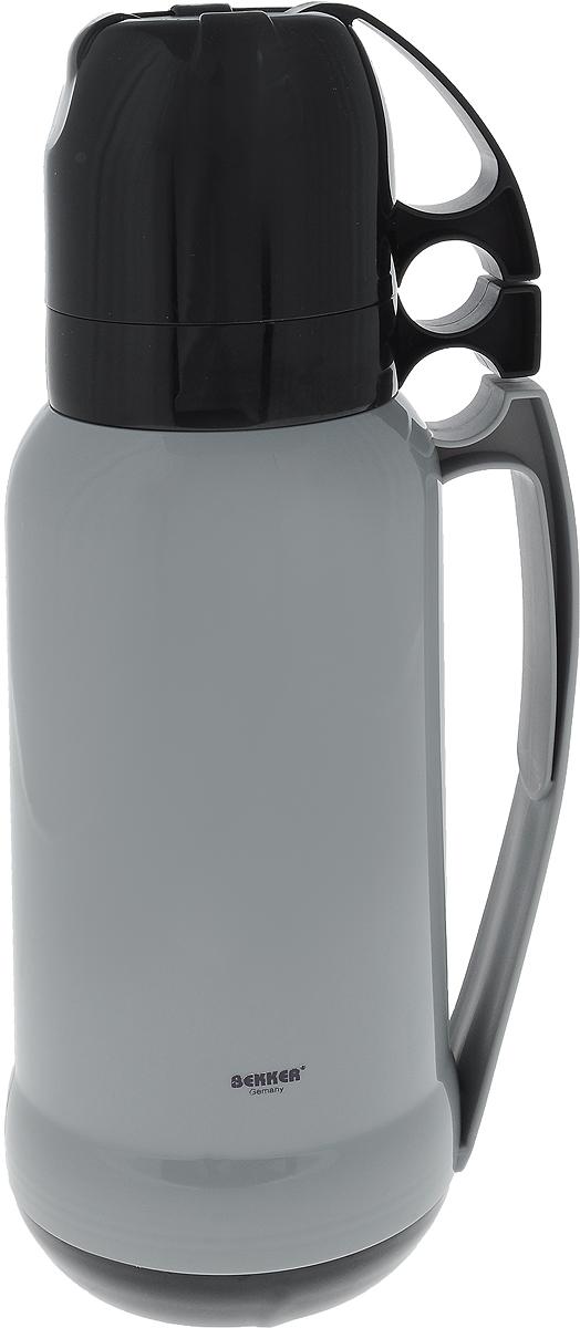 Термос Bekker Koch, с кружками, цвет: серый, 1,8 л термос bekker koch с помпой 2 5 л bk 4033