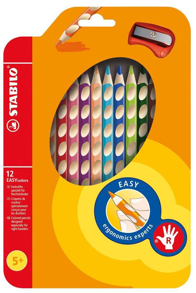 Набор цветных карандашей Stabilo Easycolors для правшей, 12 цветов332/12Преимущества карандашей STABILO EASYcolors. Специальные углубления на корпусе карандаша подсказывают ребенку как располагать большой и указательный пальцы, прививая первоначальный навык правильно держать пишущий инструмент. Расположение углубление по всей длине корпуса обеспечивает правильное удержание карандаша ребенком при письме и рисовании даже после заточки карандаша. С течением времени навык автоматически закрепляется в памяти ребенка, позволяя ему быстрее и легче адаптироваться к процессу обучения письму, освоить правильную технику письма и сделать письмо красивым и быстрым.Создают максимальный комфорт для ребенка - трехгранная форма карандаша соответствует естественному захвату руки, уменьшая мышечные усилия, необходимые для его удержания, - ребенок может рисовать длительное время без ощущения усталости. Утолщенная форма корпуса облегчает удержание карандашей детьми с недостаточно развитой мелкой моторикой руки. Карандаши разработаны с учетом особенностей строения руки ребенка и имеют две версии: для правшей и для левшей, обеспечивая им одинаково комфортное письмо. Рекомендуются в начале обучения рисованию и письму.Мягкий грифель легко рисует на бумаге, не царапая ее и не крошась, и оставляет яркий след без каких-либо усилий Утолщенный грифель диаметром 4,5 мм не нуждается в постоянном затачивании, так как имеет повышенную стойкость к поломкам. 12 ярких насыщенных цветов, карандаши можно подписать.Карандаши являются обладателями Европейского сертификата качества (маркировка на корпусе СЕ), что подтверждает их высочайшее качество и безопасность для здоровья.