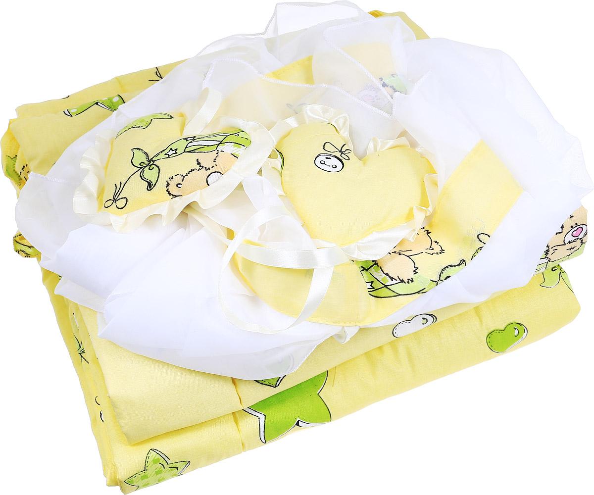 """Комплект в кроватку Фея """"Мишки"""" состоит из бортика и балдахина. Бортик в кроватку состоит из четырех частей и закрывает весь периметр кроватки. Бортик крепится к кроватке с помощью специальных завязок, благодаря чему его можно поместить в любую детскую кроватку. Бортик выполнен из натурального хлопка безупречной выделки. Деликатные швы рассчитаны на прикосновение к нежной коже ребенка. Борт оформлен изображениями забавных плюшевых медвежат.Балдахин, выполненный из полиэстера, может использоваться как для люльки, так и для кроватки. Сверху балдахин декорирован вставкой из хлопка с рисунком. Изделие оснащено двумя атласными лентами с мягкими игрушками в виде сердец на концах. Ленты завязываются на бант."""
