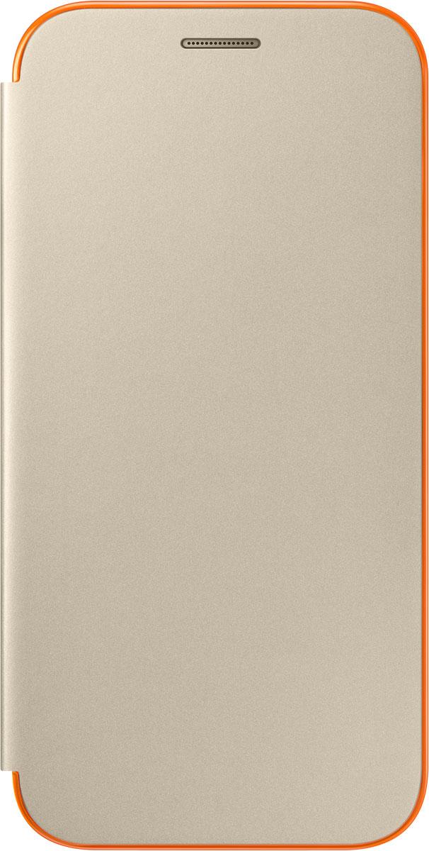 Samsung EF-FA520 Neon Flip Cover чехол для Galaxy A5 (2017), Gold mooncase senior leather flip wallet card slot bracket back чехол для cover samsung galaxy a7 браун
