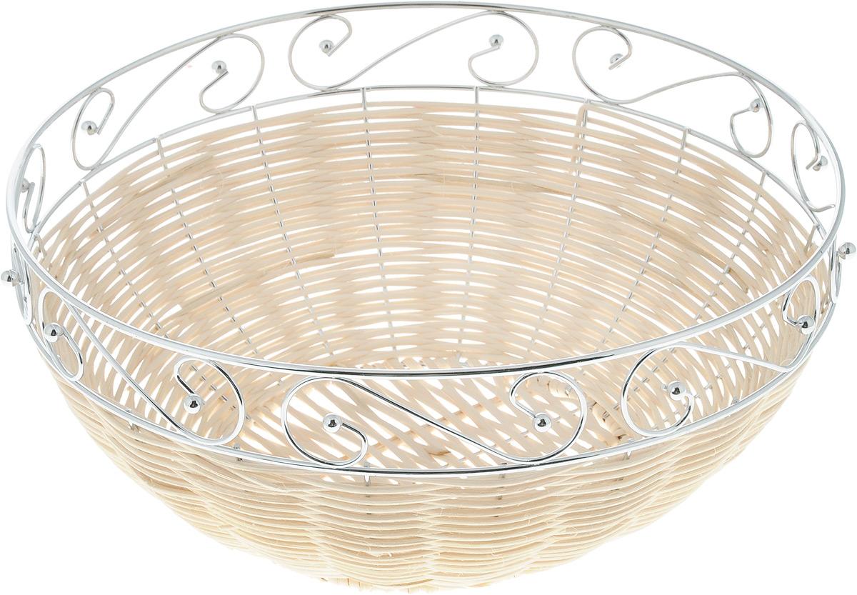 Корзина для фруктов Mayer & Boch, диаметр 27 см20943Элегантная корзина Mayer & Boch круглой формы, изготовленная из ротанга и высококачественного металла, идеально подойдет для красивой сервировки фруктов, хлеба и других угощений. Корзина Mayer & Boch прекрасно оформит стол и станет чудесным дополнением к вашей кухонной коллекции.Диаметр корзины (по верхнему краю): 27 см.