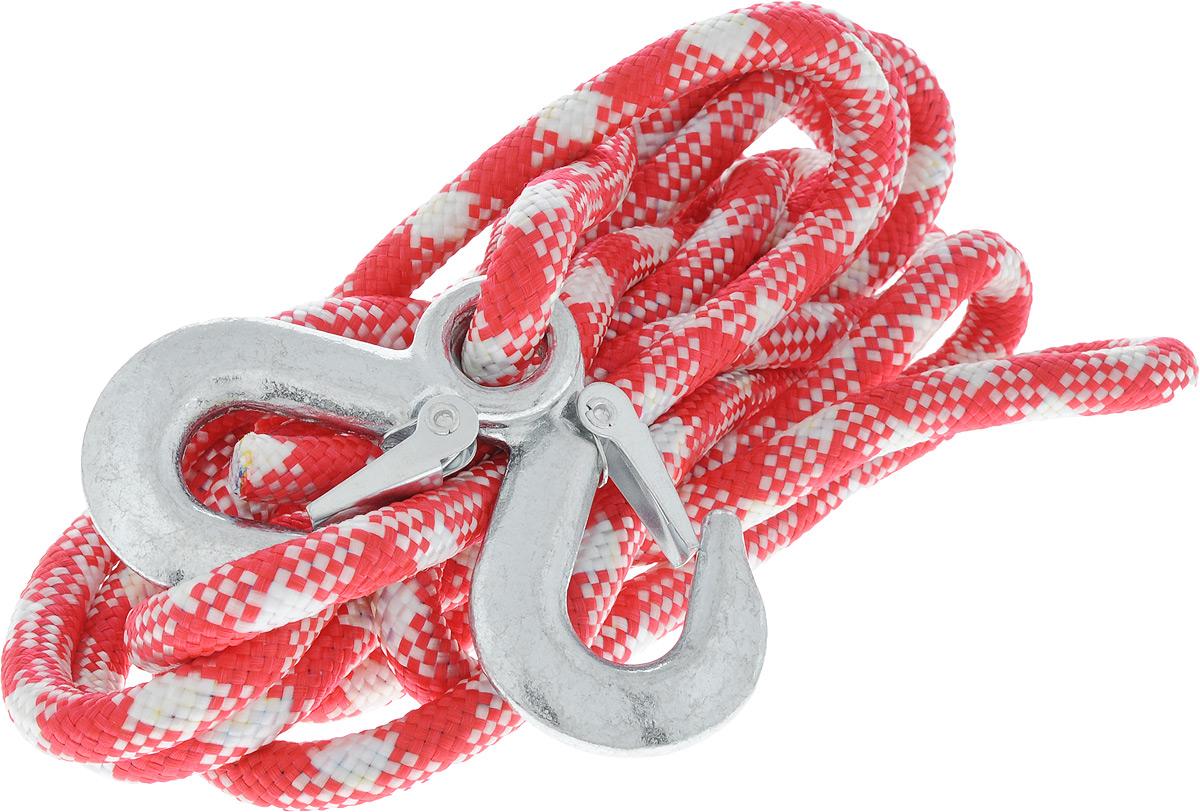Трос-шнур альпинистский Главдор, с 2 крюками, цвет: красный, белый, диаметр 12 мм, 3,5 т, 4,95 мGL-251_красно-белыйАльпинистский трос Главдор представляет собой шнур из сверхпрочной полипропиленовой нити с двумя стальными крюками. Специальное плетение веревки обеспечивает эластичность троса и плавный старт автомобиля при буксировке. На протяжении всего срока службы не меняет свои линейные размеры.Трос морозостойкий и влагостойкий. Длина троса соответствует ПДД РФ.Буксировочный трос обязательно должен быть в каждом автомобиле. Он необходим на случай аварийной ситуации или если ваш автомобиль застрял на бездорожье. Максимальная нагрузка: 3,5 т.Длина троса: 4,95 м.Диаметр троса: 12 мм.