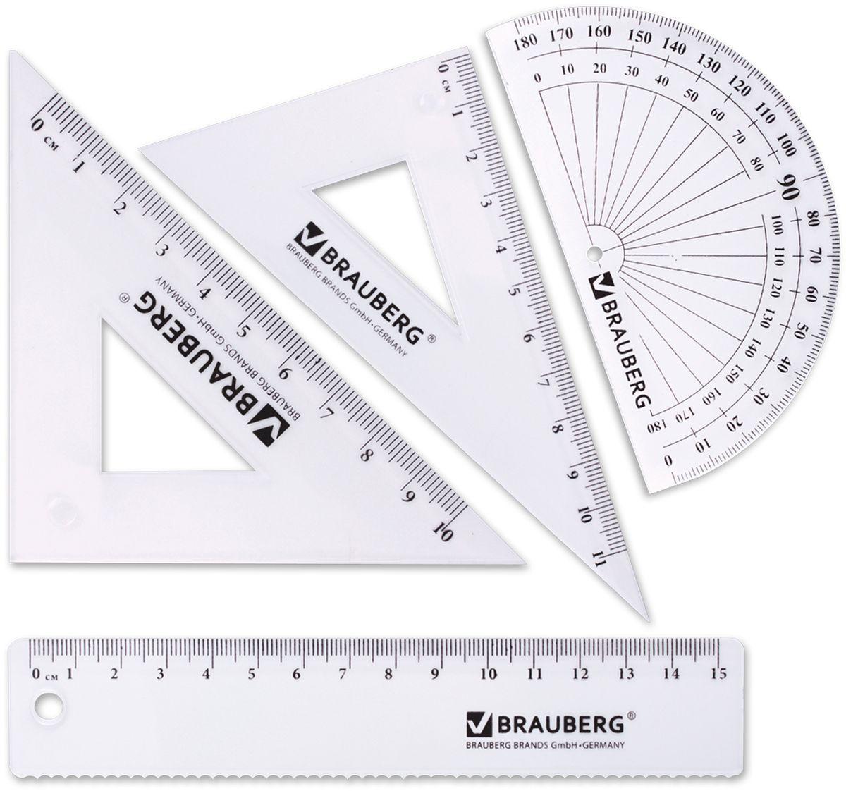Brauberg Набор чертежный 4 предмета 210306210306Набор геометрический из прозрачного, прочного пластика толщиной 1,4 - 2 мм. Предназначен для чертёжных работ.Набор включает в себя четыре предмета: линейка со шкалой 15 см, треугольник с углами 30°/60° и шкалой 11 см, треугольник с углами 45°/45° и шкалой 10 см, транспортир 180°.