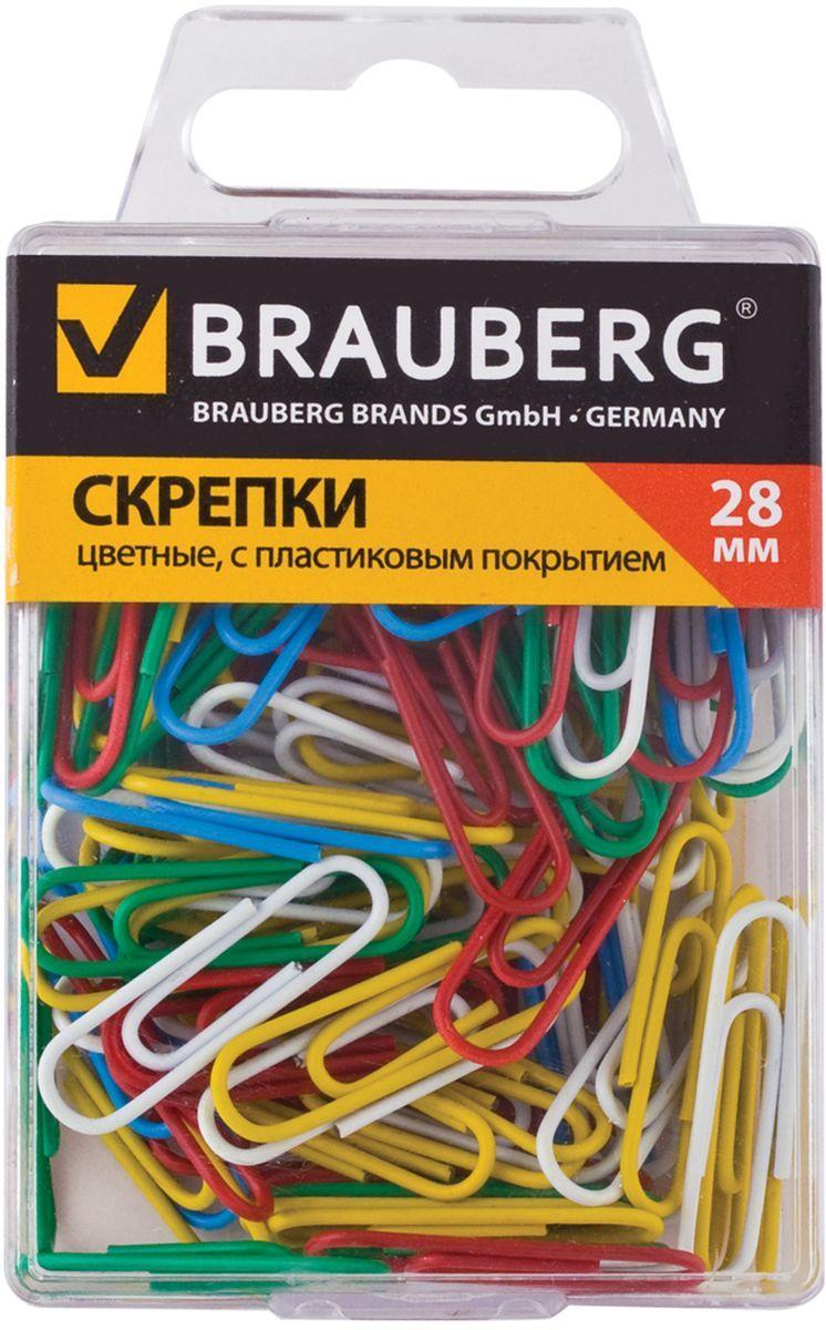 Brauberg Скрепки цветные 28 мм 100 шт221111Скрепки Brauberg изготовлены из стали с нанесением пластикового покрытия красного, розового, желтого, зеленого, голубого, синего и белого цвета.