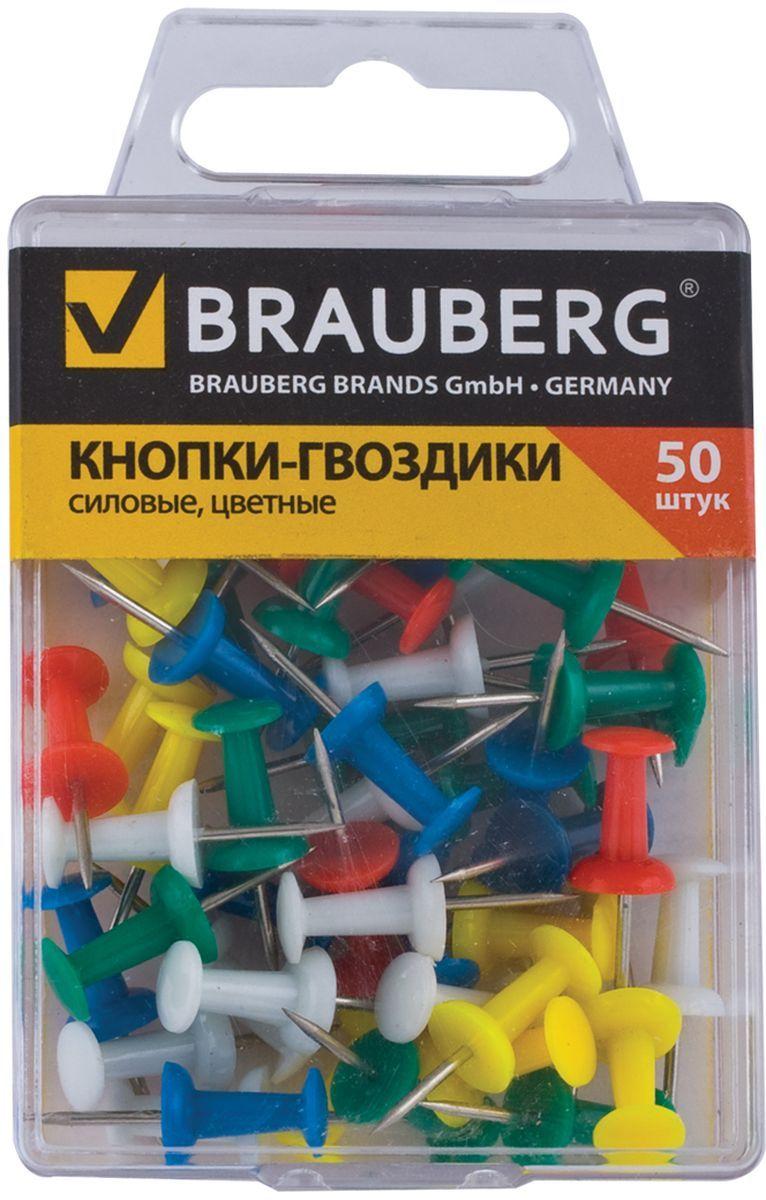 Brauberg Кнопки силовые 50 шт 221117221117Силовые кнопки Brauberg предназначены для создания отметок на картах и для крепления информации к пробковым доскам.Корпус кнопок - гвоздиков изготовлен из цветного пластика, а острие изготовлено из стали.