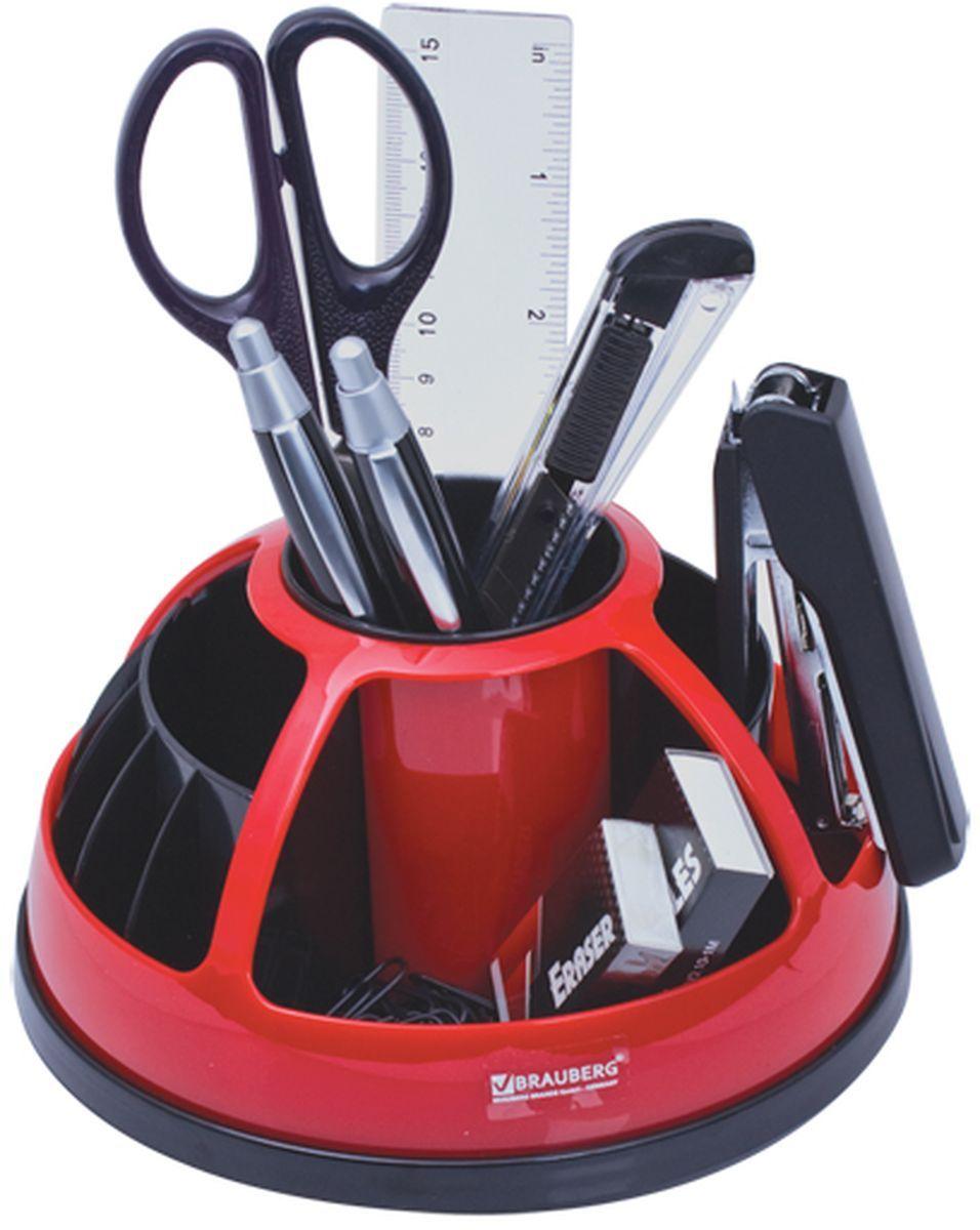 Brauberg Канцелярский набор 9 предметов цвет черный красный -  Органайзеры, настольные наборы