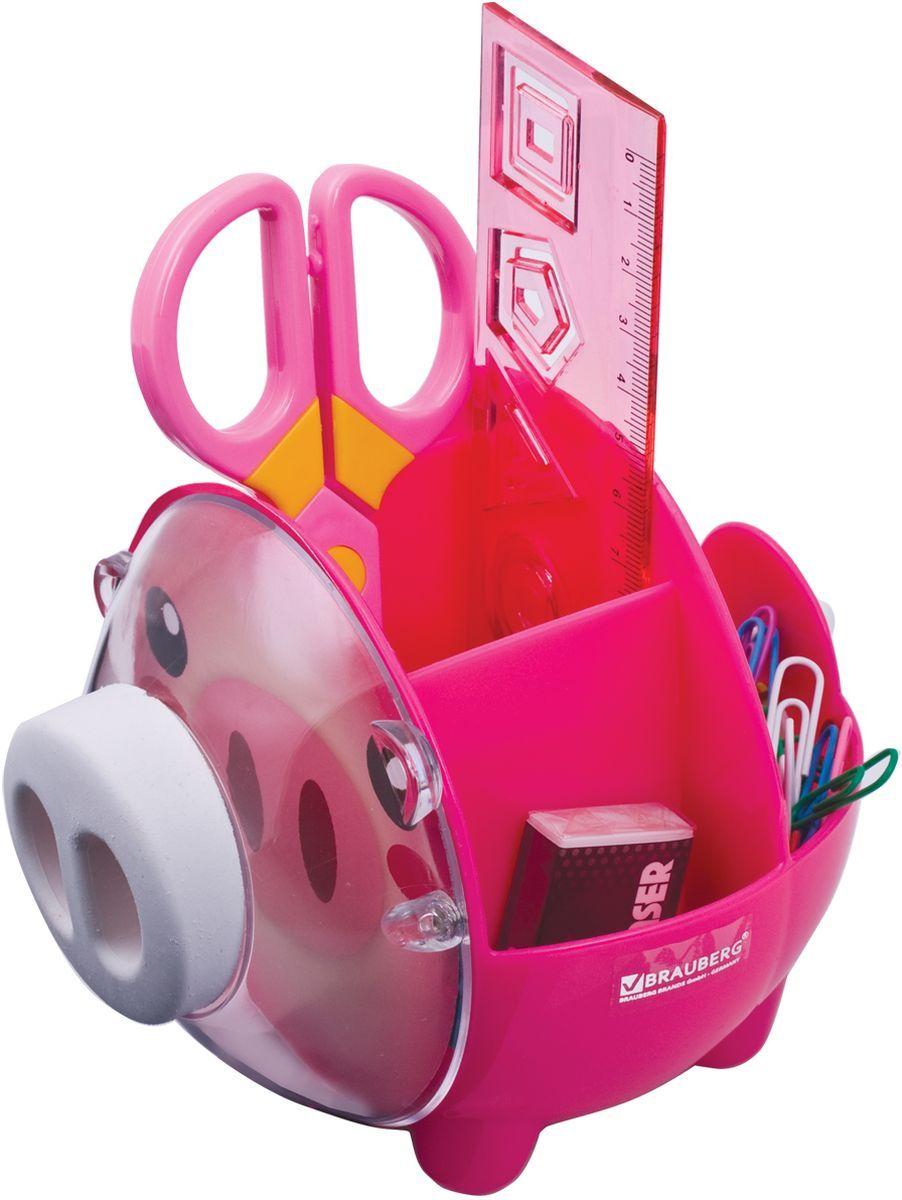 Brauberg Канцелярский набор Пигги цвет розовый231934Настольный канцелярский набор Brauberg Пигги из высококачественного яркого пластика в форме поросенка позволяет эргономично и весело организовать место для учебы и развлечений ребенка.В набор входят: пластиковые ножницы с безопасными закругленными лезвиями, линейка с трафаретами, скрепки, стирательная резинка.