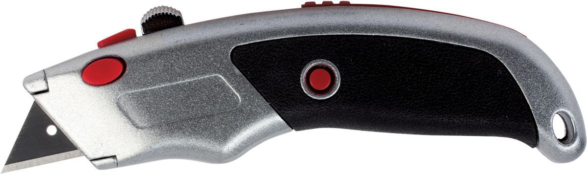 Brauberg Нож канцелярский + 5 лезвий 235404235404Мощный канцелярский нож Brauberg с выдвижным лезвием предназначен для разрезания различных материалов: бумаги, картона, линолеума, гипсокартона, ковровых покрытий и т.п. Кнопка автоматической фиксации позволяет закреплять лезвие в корпусе. Резиновые вставки на рукоятке помогают избежать скольжения. 5 запасных лезвий находятся в обойме внутри корпуса ножа