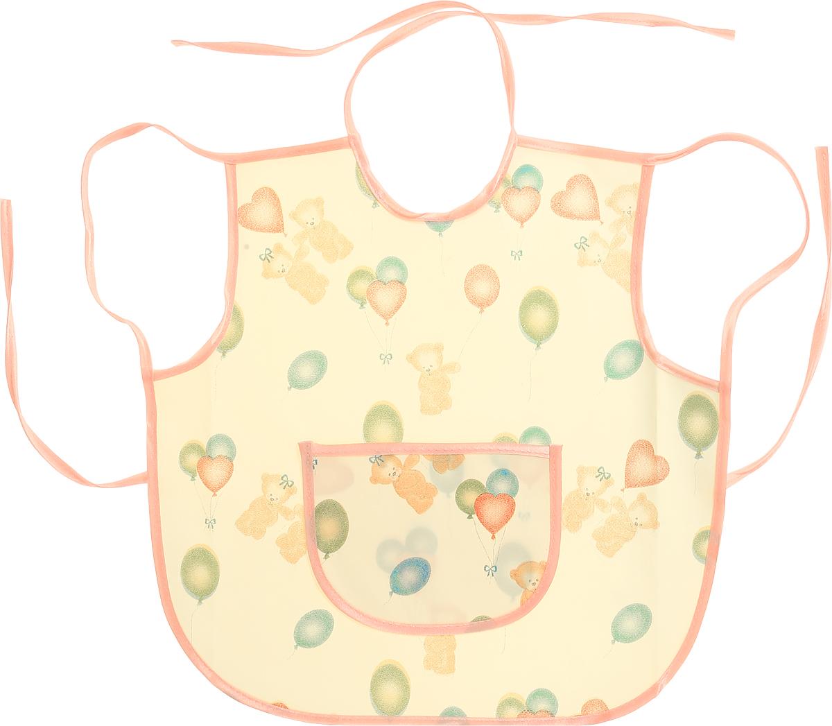 Колорит Фартук защитный Мишки с шариками цвет желтый розовый 36 х 36 см0071_желтый, розовыйФартук Колорит Мишки с шариками с непромокаемым слоем защитит одежду малыша во время кормления и освободит родителей от дополнительных хлопот.Фартук на завязках - выбор практичных мамочек. Пользоваться им можно более длительное время. Пока ваш малыш растет, благодаря завязкам вы сможете легко контролировать длину изделия и регулировать размер горловины. Фартук изготовлен из клеенки подкладной с ПВХ покрытием и дополнен широким карманом. Лицевая сторона оформлена забавным изображением.Материал: клеенка, ПВХ.