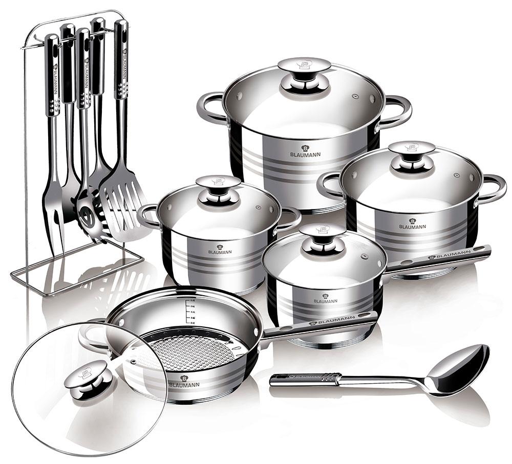 """Набор посуды Blaumann """"Gourmet Line. Jambo"""" состоит из 3 кастрюль с крышками,  сотейника с крышкой, ковша с крышкой и 6 кухонных инструментов на подставке  (кулинарной ложки, кулинарной ложки с прорезями, лопатки, вилки, ложки для  спагетти, половника). Изделия выполнены из высококачественной нержавеющей  стали. Зеркальная полировка придает посуде безупречный внешний вид. Благодаря энергосберегающему дну, тепло равномерно распределяется по  стенкам посуды. Для приготовления пищи в такой посуде требуется  минимальное количество масла, тем самым уменьшается риск потери витаминов  и минералов в процессе термообработки продуктов.  Специальный ободок по краям изделий предотвращает растекание жидкости  при наполнении и переливании, что способствует сохранению чистоты стенок.   Посуда оснащена удобными металлическими клепаными ручками. На внутренней  стенке имеются отметки литража. Крышки выполнены из термостойкого прозрачного стекла, оснащены ручкой,  металлическим ободом и отверстием для выпуска пара. Такие крышки позволяют  следить за процессом приготовления пищи без потери тепла. Они плотно  прилегают к краю посуды и сохраняют аромат блюд.  Подходит для всех типов плит, включая индукционные. Можно мыть в  посудомоечной машине. Объем кастрюль: 2,6 л, 3,6 л, 6,1 л.  Диаметр кастрюль: 18 см, 20 см, 24 см.  Высота стенок кастрюль: 10,5 см, 11,5 см, 13,5 см.  Диаметр сотейника: 24 см.  Высота стенки сотейника: 6,5 см.  Объем ковша: 1,9 л.  Диаметр ковша: 16 см.  Высота стенки ковша: 9,5 см.  Средняя длина кухонных инструментов: 31 см.  Уважаемые клиенты!  Обращаем ваше внимание на тот факт, что объем посуды указан максимальный,  с учетом полного наполнения до кромки. Шкала на внутренней стенке имеет  меньший литраж."""