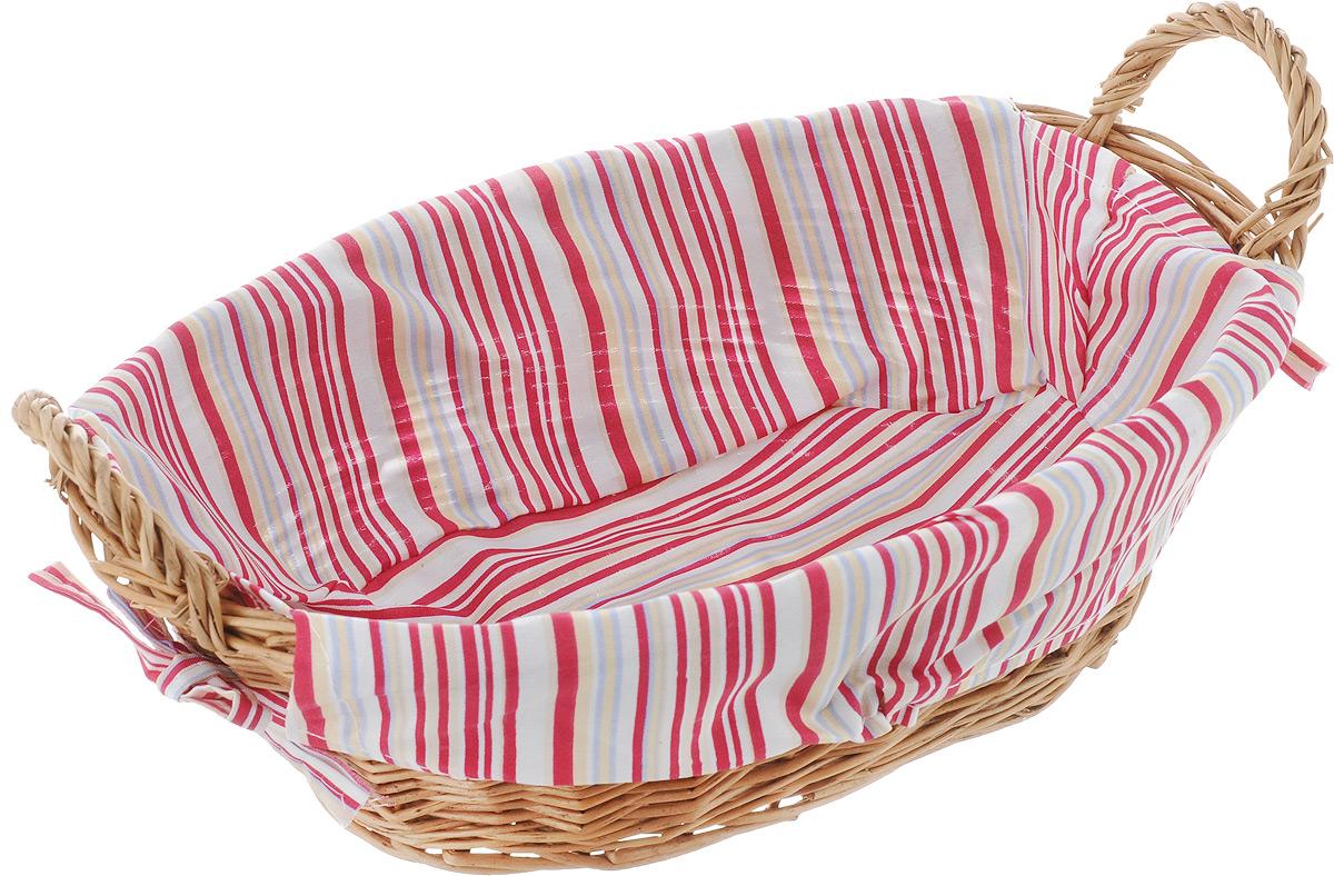 Корзинка для хлеба Kesper, с ручками, цвет: вишневый, белый, бежевый, 32 см х 23 см х 13 см поднос kesper цвет белый 48 х 30 х 3 5 см