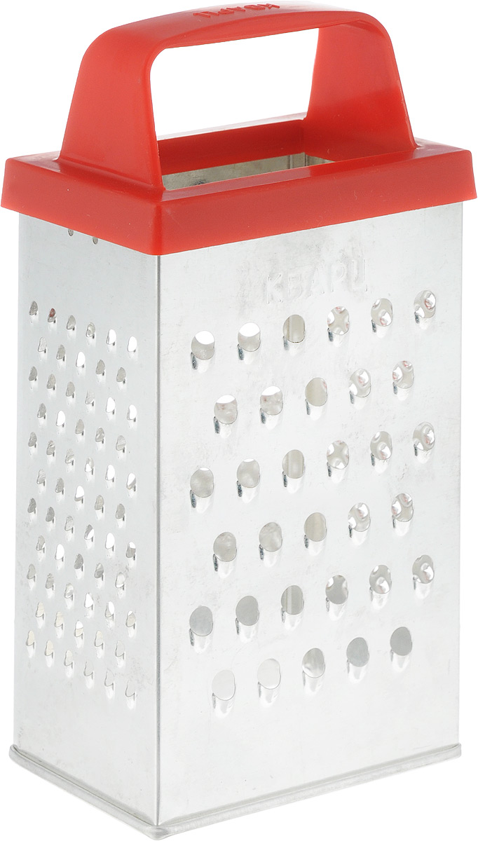 Терка Кварц Эконом четырехгранная, высота 18 смК01.000.09Терка Кварц Эконом выполнена из высококачественной белой жести с эргономичной пластиковой ручкой. Терка предназначена для измельчения и нарезки фруктов, овощей и других продуктов.Терку необходимо мыть сразу после использования. Не используйте для чистки жесткие предметы, металлические мочалки и чистящие порошки. Размер терки с учетом ручки (ВхДхШ): 18 см х 8,5 см х 6 см.